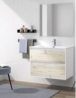 Mueble de baño suspendido con lavabo y espejo de duplach