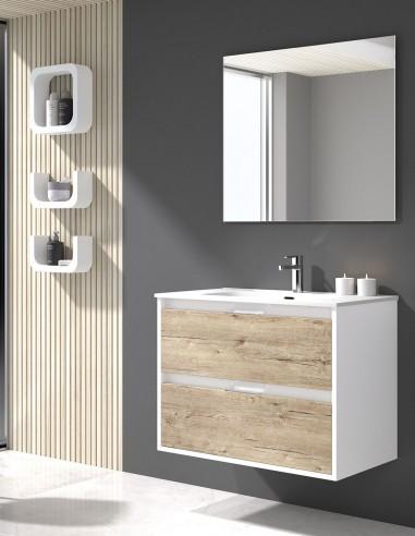 Mueble de baño con lavabo ceramico y espejo incluido de duplach