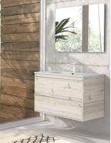 Mueble con lavabo suspendido acabado decapé de Duplach