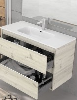 Mueble de baño con lavabo suspendido nasu 2 cajones de Duplach