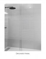 Mampara de ducha hoja fija + puerta abatible decorado líneas