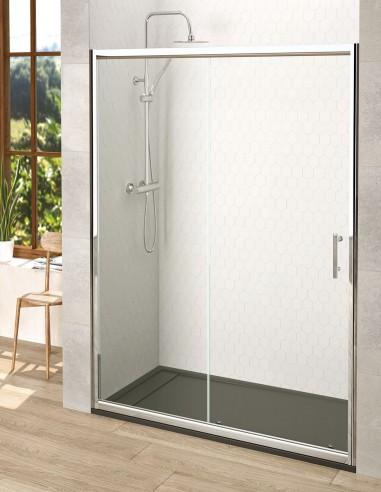 Mampara de ducha frontal con una puerta fija y una corredera de Becrisa