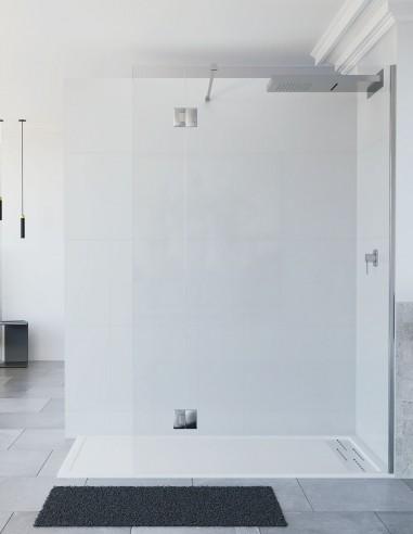 Mampara de ducha fija puerta abatible...