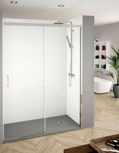 Mampara de ducha frontal corredera de 1 puerta fija y 1 corredera de Becrisa