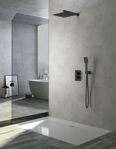 Set de ducha negro - empotrado termostático modelo CÍES de IMEX