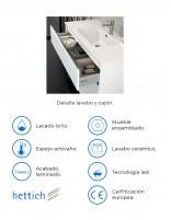 Mueble de baño vesubio de duplach con lavabo espejo incluido y mueble auxiliar opcional - detalles