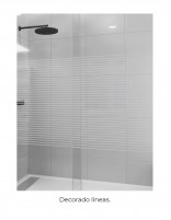 Mampara de ducha frontal acrílica decorado líneas
