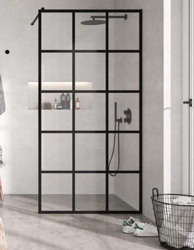 Mampara fija ducha negra modelo FRESH de cuadros de Kassandra