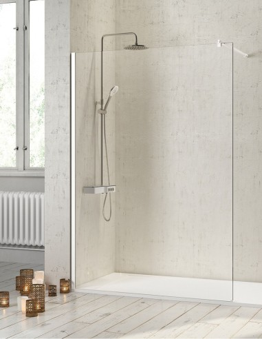 Mampara de baño aluminio blanco modelo FRESH de Kassandra