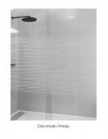 Mampara ducha marco negro modelo MIRIEL BLACK decorado líneas