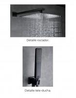 Grifería para ducha empotrada modelo SUECIA de Imex rociadores negros