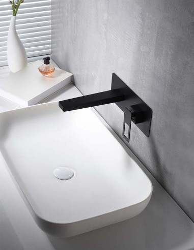 Grifo lavabo empotrado negro modelo SUECIA de Imex