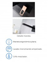 Grifo lavabo empotrado negro detalle negro - oro rosa