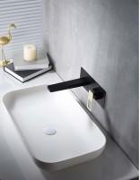 Grifo lavabo empotrado negro - oro