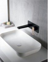 Grifo lavabo empotrado negro - oro rosa