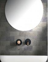 Grifo lavabo empotrado pared negro-oro rosa