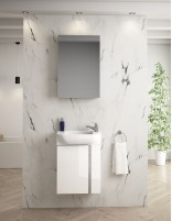 Mueble baño suspendido fondo reducido blanco de 45