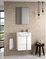 Mueble baño suspendido fondo reducido blanco de 55