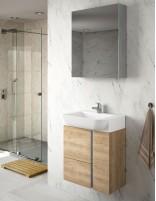 Mueble baño suspendido fondo reducido de 55 roble natural