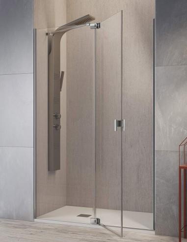 Mampara de ducha sin perfiles modelo SULA fijo y abatible