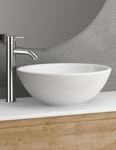 Lavabo blanco modelo OTTO de ÖK Becrisa redondo cerámico