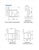 Mampara 1 fijo 2 correderas + lateral fijo detalle perfilería
