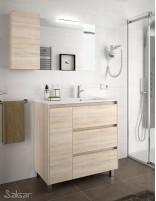 Mueble baño 3 cajones y puerta roble caledonia