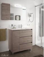 Mueble baño 3 cajones y puerta roble eternity