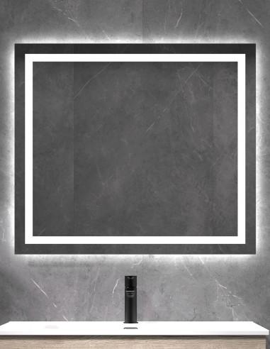 Espejo cuadrado para baño modelo LED CÍES con opción de añadir ANTIVAHO