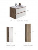 Mueble de baño Manila con lavabo incluido y mueble auxiliar opcional