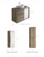 Mueble baño con puerta corredera y dos cajones - opción de mueble auxiliar de Socimobel