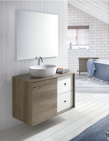 Mueble de baño con lavabo sobre encimera modelo NATURA de Socimobel