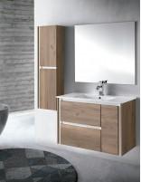 Mueble de baño con lavabo y espejo opcional de Socimobel acabado roble olmo