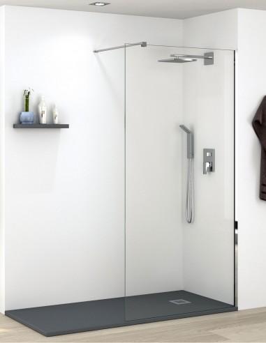 Mampara de ducha fija con perfil cromo de Becrisa