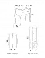 Mueble de baño isabelino - medidas