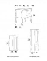Mueble de baño vintage modelo DIANA de Socimobel - medidas