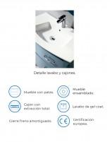 Mueble con lavabo vintage modelo ZOE de Socimobel - detalles