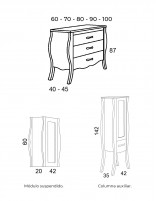 Mueble de baño vintage modelo DARÍN de Socimobel - medidas