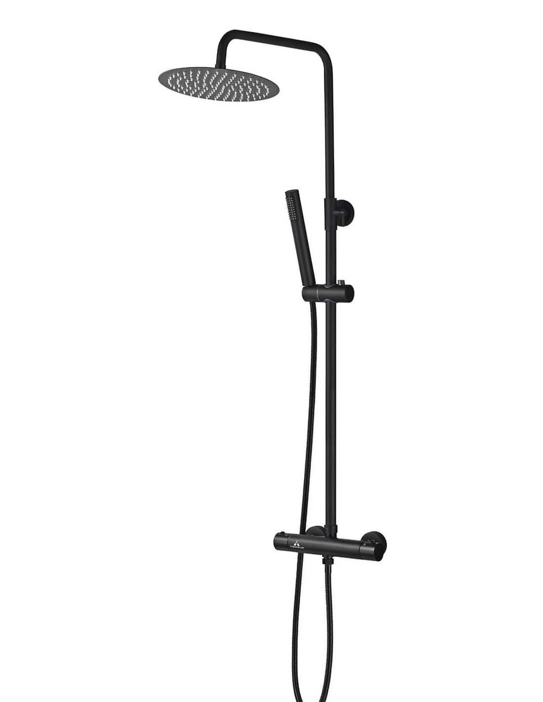 Columna de ducha termostática negra de Aquassent