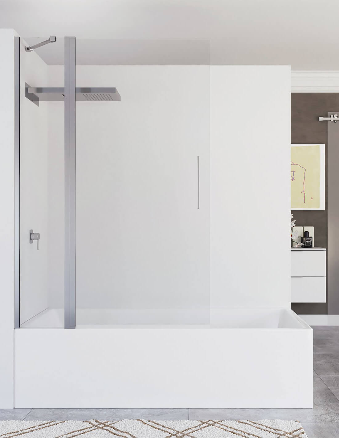 Mampara de baño con fijo y puerta abatible