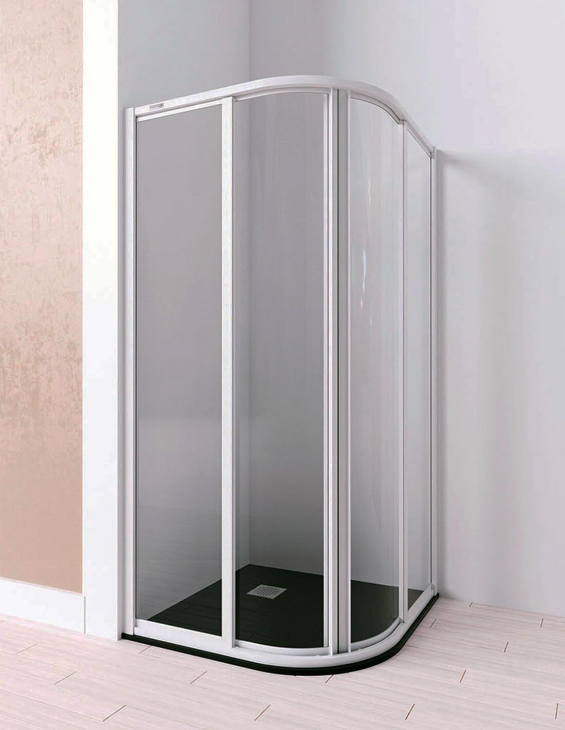 Mampara de ducha semicircular con cristal acrílico