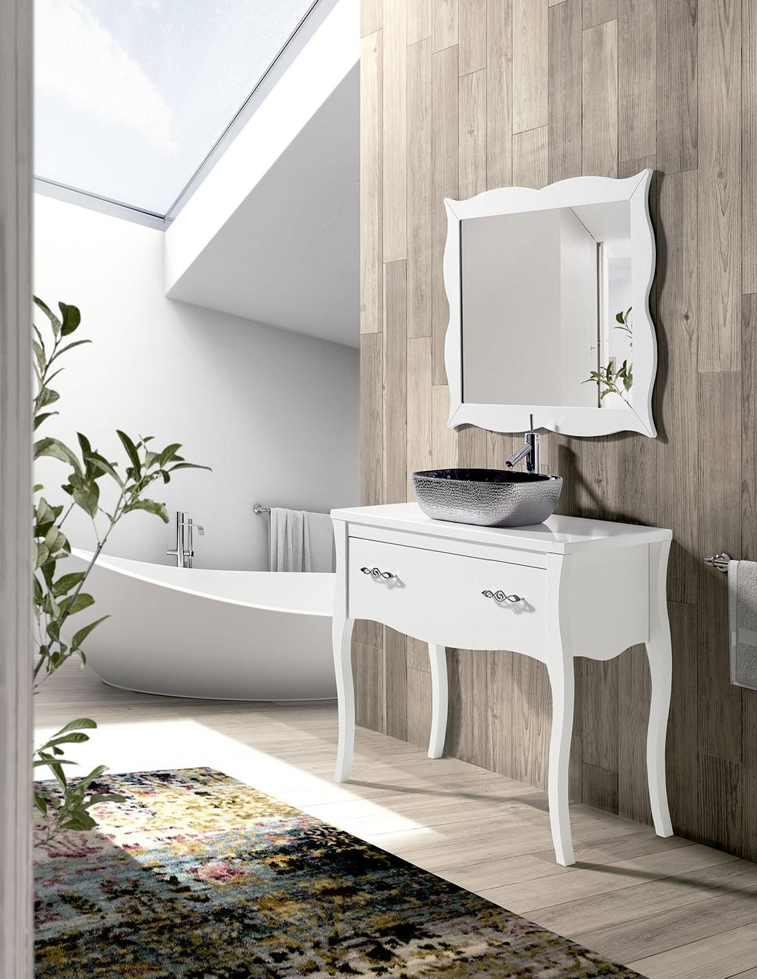 Mueble de baño vintage blanco con patas