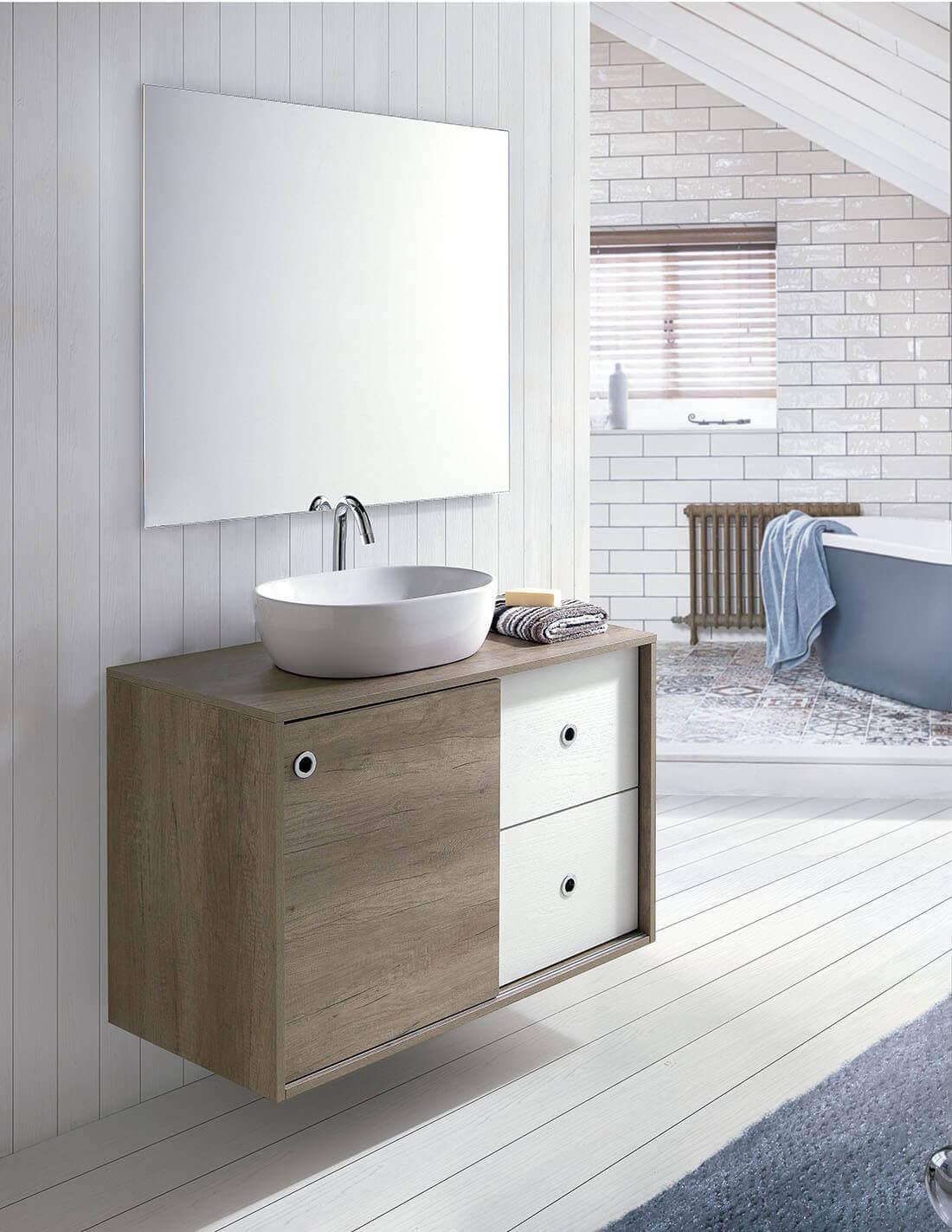 Mueble de baño con lavabo sobre encimera