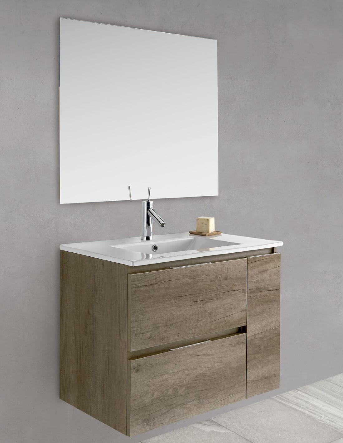 Mueble de baño con fondo reducido sin patas