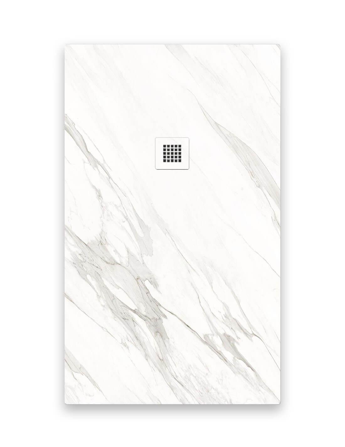 Plato de ducha de mármol blanco